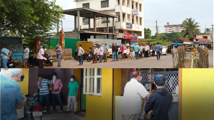 Long queues outside liquor shops in Mangalore, Udupi as Lock down relaxes